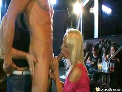 Blonde and friends pampering dick