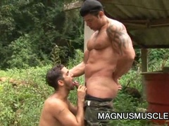 Lustful military muscled gay studs doing some intensive training