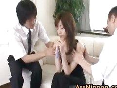 Kanon Hanai Asian babe gets a finger