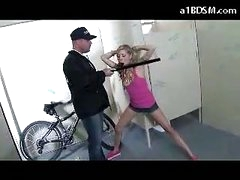 Nasty Blond Girl Getting Handcuffed Pussy Rubbed With Baton Giving Blowjob For The Security Guard In The Public Toilette