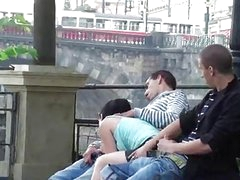 Public threesome sex on the street AWESOME