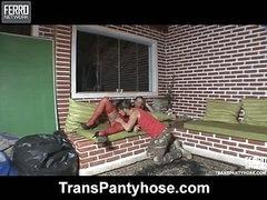 joyce&edu shemale pantyhose video
