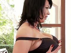 Hot dark haired babe with big boobies Kora masturbating on camera with her vibrator