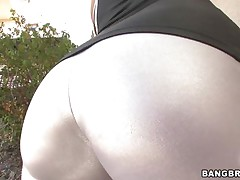 brunette milf sits on a man's face then gives blowjob