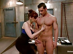 redhead goddess exploits her muscled guy