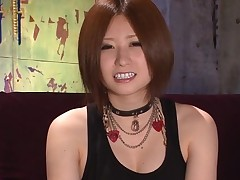 Wet muff diving for sexy Oriental darling in nylons