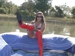 Handjob on a boat from really pretty girl