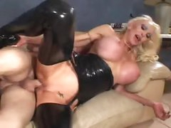 Huge titty wench in black latex fucked