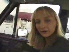 Car blowjob in a parking lot