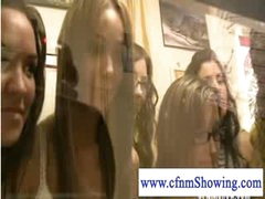 Cfnm girls enjoying a tugjob and blowjob show during the time that shopping