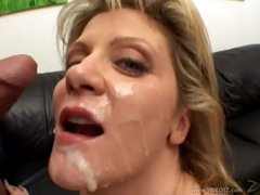Ginger Lynn gets her face plastered with cum
